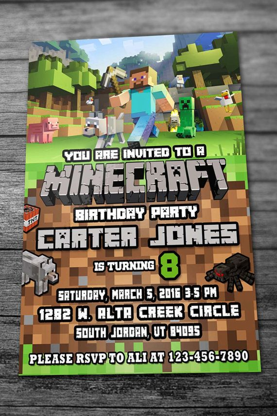 MineCraft Birthday Invites with Thank you Card by InvitesEshop