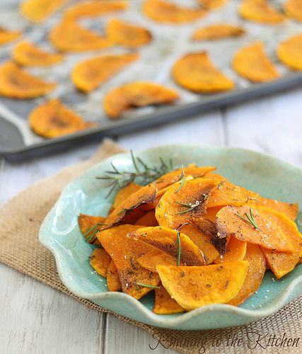 Crispy baked butternut squash chips, from http://www.runningtothekitchen.com/2012/10/crispy-baked-butternut-squash-chips/