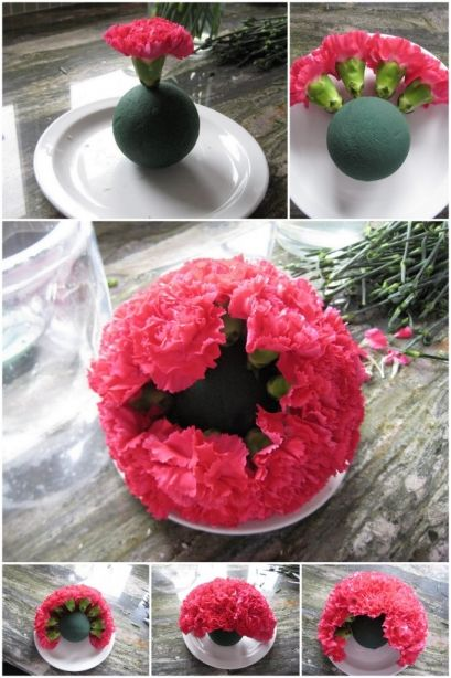 "How to do a flower ball:    44 carnations + 3"" ball  = 7"" ball"