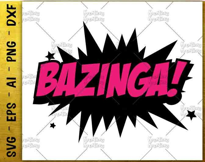 bazinga svg Big Bang Theory SVG geek svg science svg cut cuttable cutting files Cricut Silhouette Instant Download vector SVG png eps dxf by KreationsKreations on Etsy