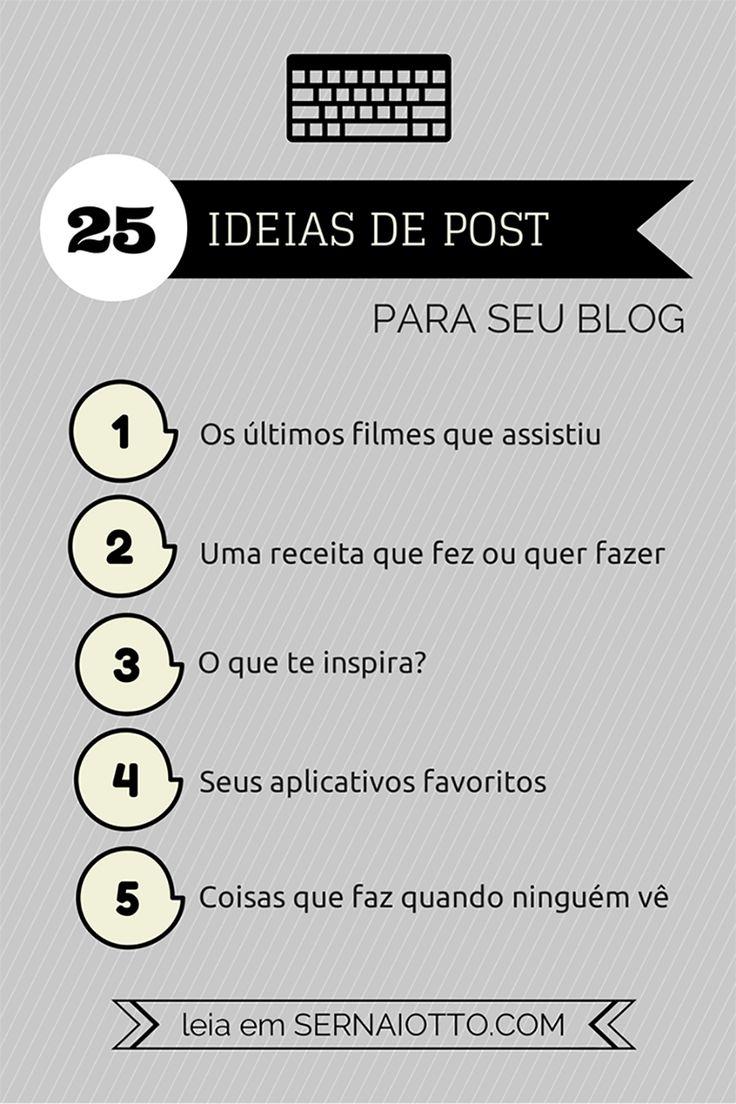 + 25 ideias de post para seu blog http://sernaiotto.com/2014/07/14/25-ideias-de-post/