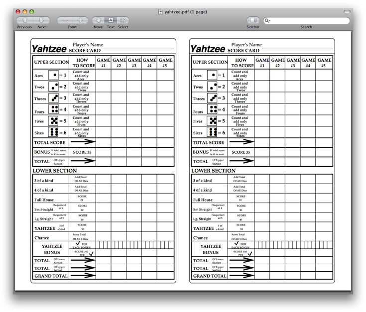 Yahtzee Score Sheets Template