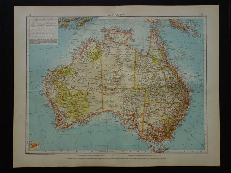 "1910 Antique large map of Australia - Beautiful old detailed big print about Australie - Perth Sydney Melbourne area - Australien 17x22"" by VintageOldMaps on Etsy"
