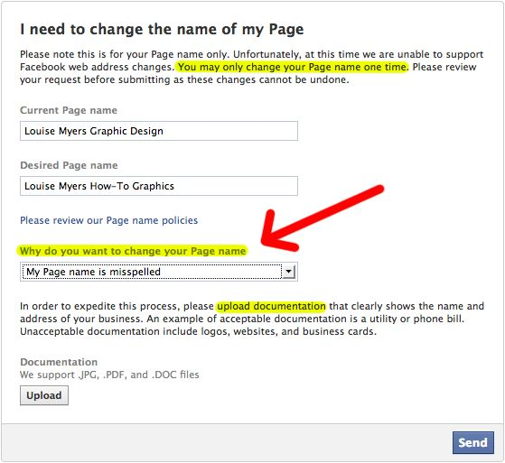 How to Change Your Facebook Page Name 2015 Facebook - name change form