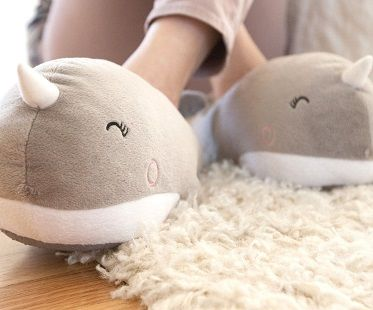 whale heated slippers