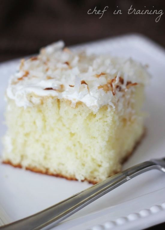 Coconut Cream Cake -1 box white cake mix and ingredients it calls for,   1/2 cup sweetened coconut,  1 (15 oz) can Coco Lopez Cream of Coconut,  8 oz. cool whip thawed,   1 cup sweetened or toasted coconut