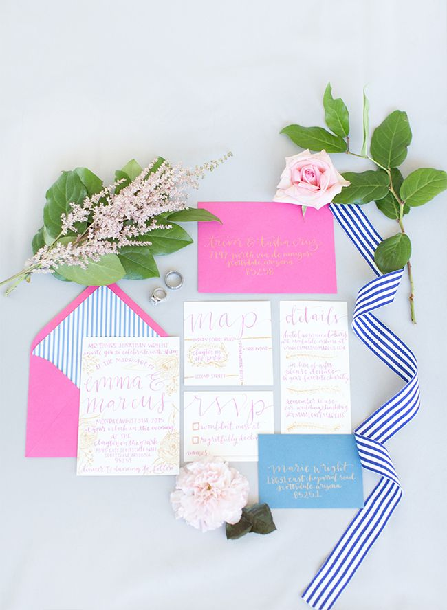 Navy & Pink Inspiration Shoot Elopement on Inspired by This // Photos by Amy & Jordan Demos, styling by Imoni Events, lettering by Freed Hands