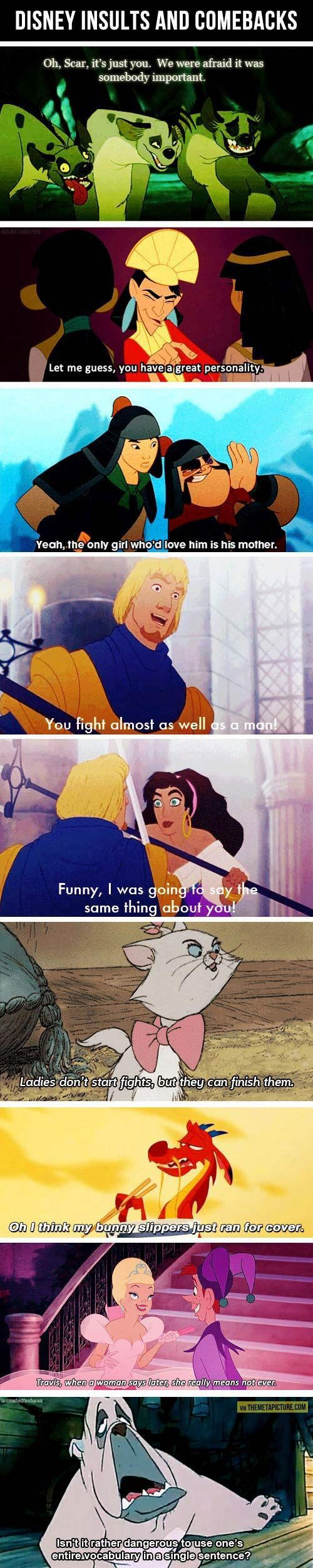 Disney insults and come backs