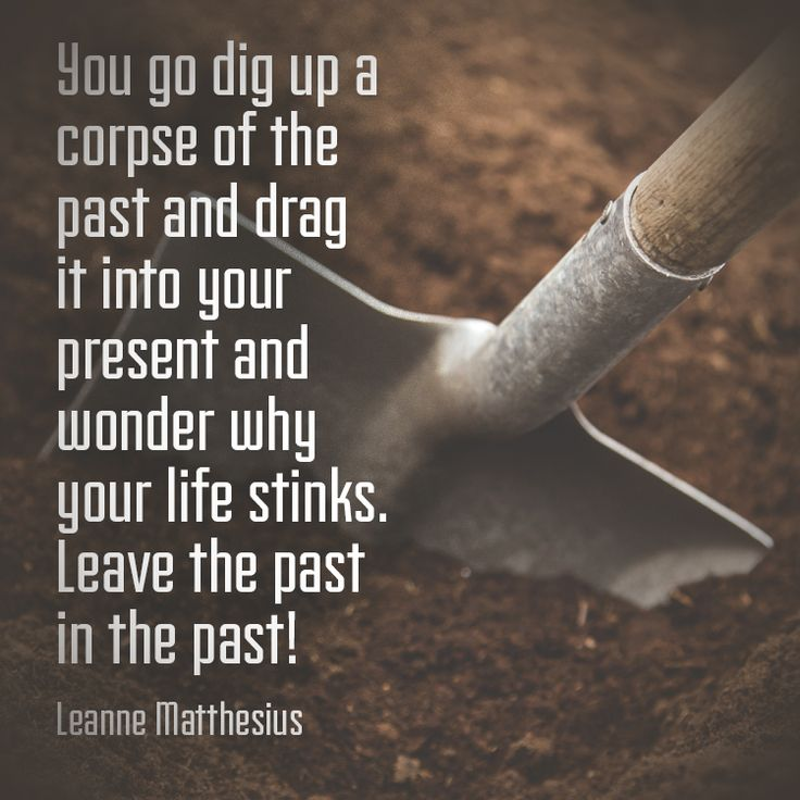 You go dig up a corpse of the past and drag it into your present and wonder why your life stinks. Leave the past in the past! – Leanne Matthesius