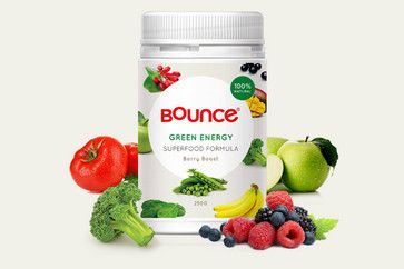 Bounce Green Energy Superfood Formula - Berry Boost.  $46.95. Whether you're looking for the edge in your workout or simply an energy boost on a busy day, you'll thrive with Green Energy: a natural energy drink powered by 33 potent superfoods.
