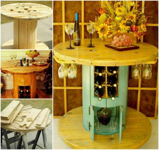 Spool Turned Wine Table!