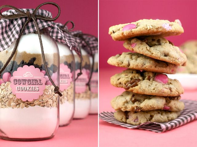 Cookies in a jar recipe- Blue or green m & m's instead of pink.