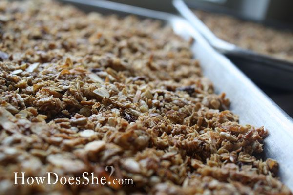 Homemade Granola  Ingredients:  -12 C Quick Cooking Oats  -1/2 C Flour  -1 T  Cinnamon  -1/2 t Nutmeg  -4 C Random dry ingredients (I use raisins, coconut flakes, sunflower seeds, slivered almonds, small chocolate chips, peanut butter chips.)  -1 C Vegetable Oil  -1 C Honey