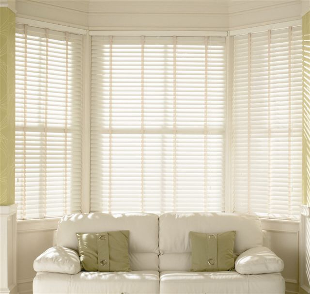 White Wooden Blinds With Curtains