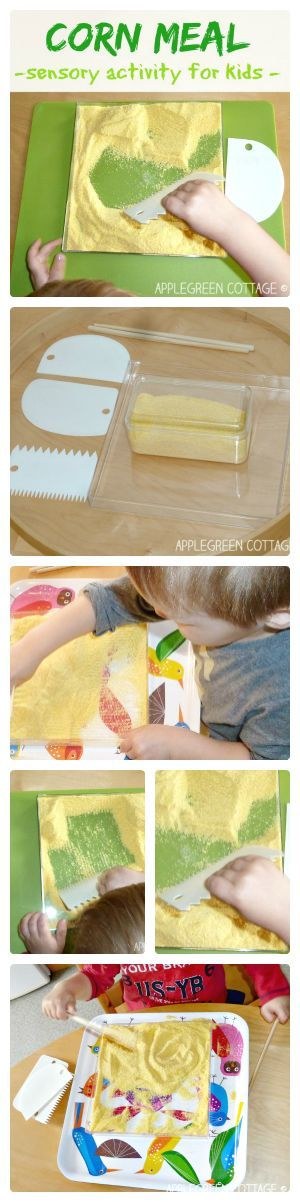 Sensory play for toddlers - corn meal activities and options for moms to make the play less messy - less cleanup work!