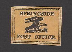Allan Taylor 1800s FANTASY Postmaster Provisional SPRINGSIDE POST OFFICE stamp