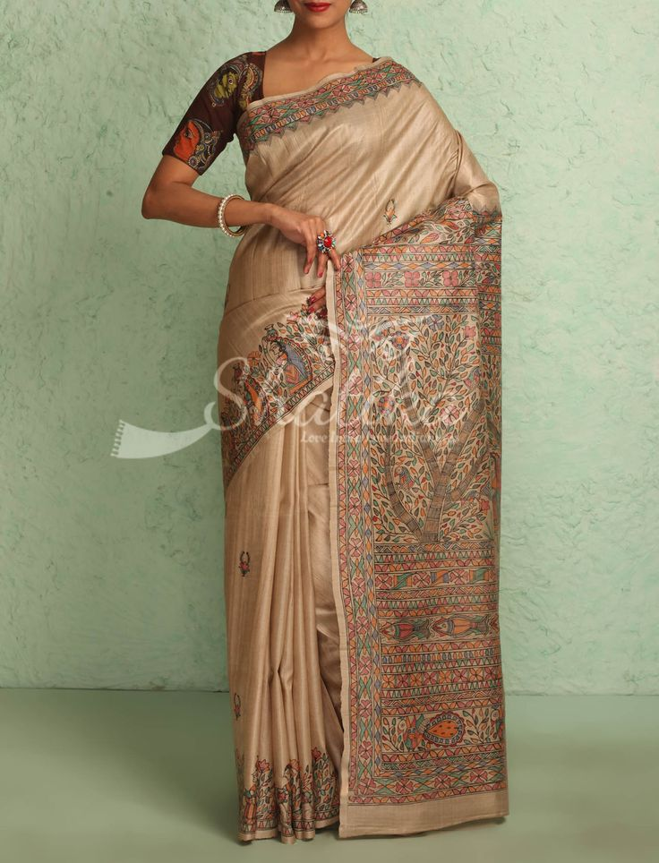 Kashmira Pale Fawn With Intricate Handpainted Border Pallu Madhubani Silk Saree