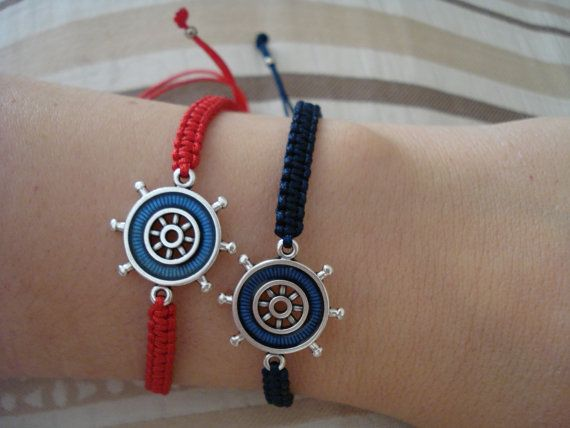 Ship wheel bracelet Blue wheel bracelet Couples bracelet by Poppyg