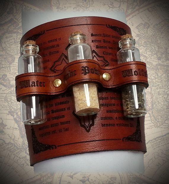 Steampunk Vampire Slayer Leather Cuff , Bracer,Adventurer, Warehouse13, Kraken, Cthulhu, Zeppelin, Explorer, Clockwork, Cog, Dieselpunk