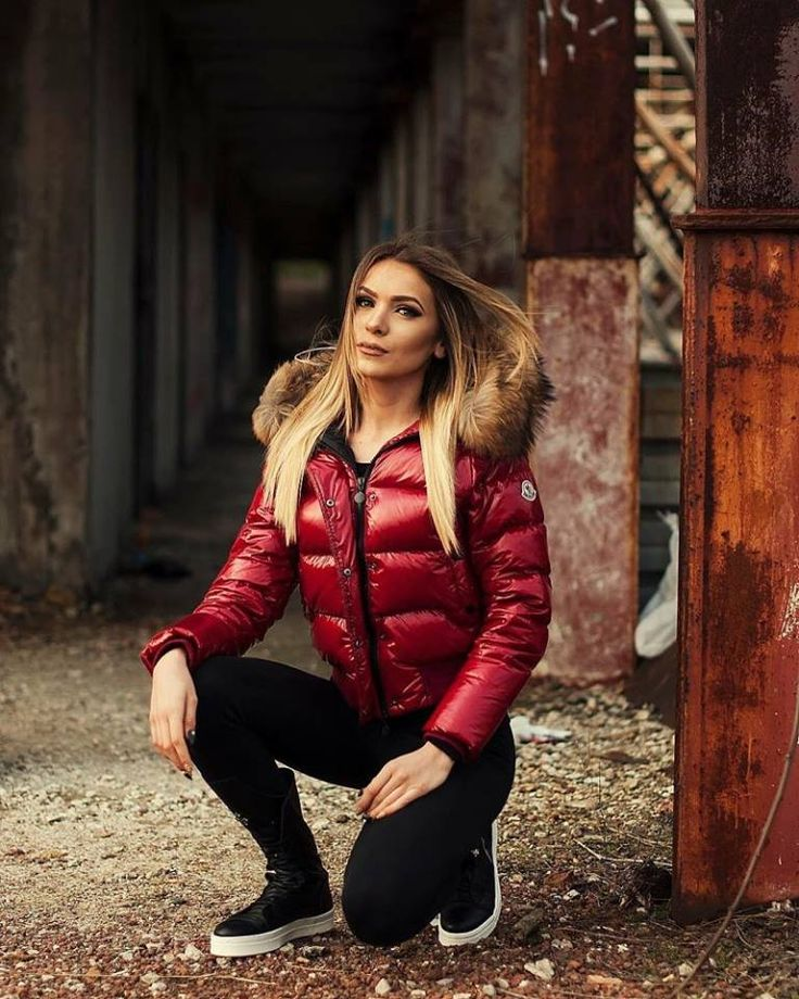 Red Moncler Alpin down jacket