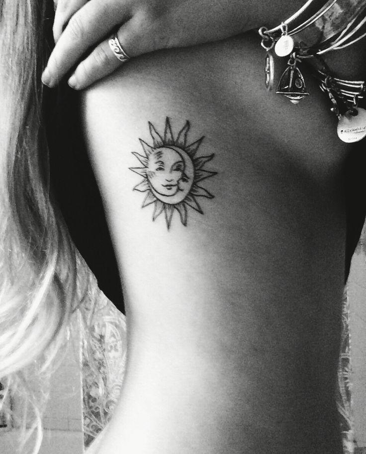 moon in sun line tattoo on ribs