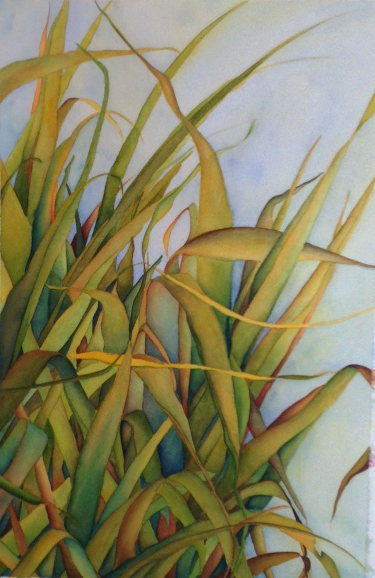 "Garden Grass, Watercolour, 19"" x13"","