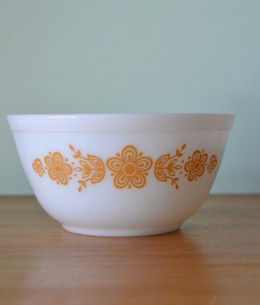 Vintage pyrex  Casserole Dish bowl no 402  butterfly flowers mustard No 803