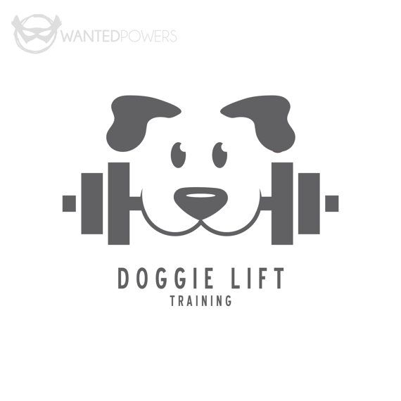 Custom Pre-Made Logo Design Dog Weight by WantedPowersDesigns: Pet, Dog, Doggie, Train, Training, Lift, Weights, Logo, Design, Graphic Design, Cute, Negative Space
