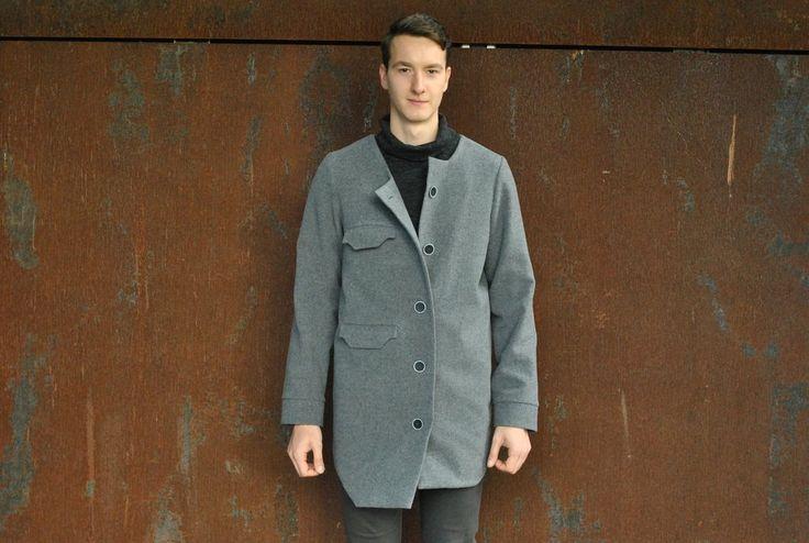 Wool Mix Asymmetric Form Overcoat / Wełniany Asymetryczny Płaszcz