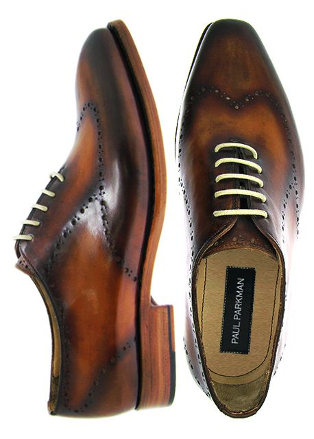 Paul Parkman Men's Brown Hand-Burnished Wingtip Perforated Wholecut Leather Upper With Double Leather Sole Oxford Shoes
