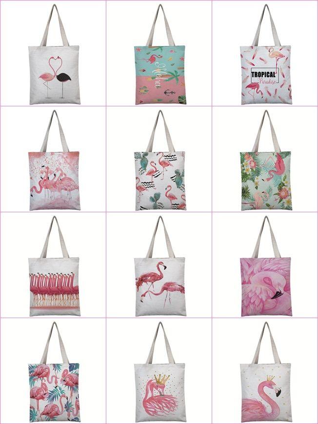pattern was Pink flamingos linen tote bag