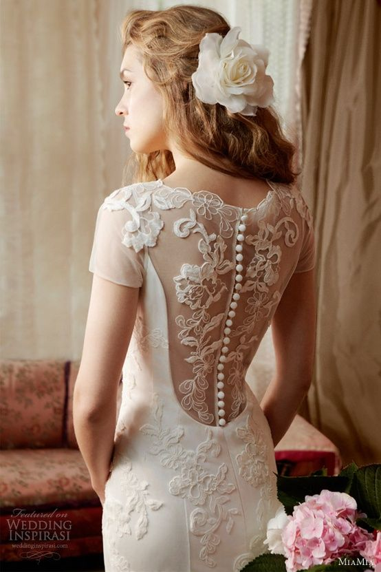 www.weddbook.com everything about wedding ♥ MiaMia Bridal Collection ♥ Lace Back Button Wedding Dress #wedding #dress #fashion #lace #white #bride #photo
