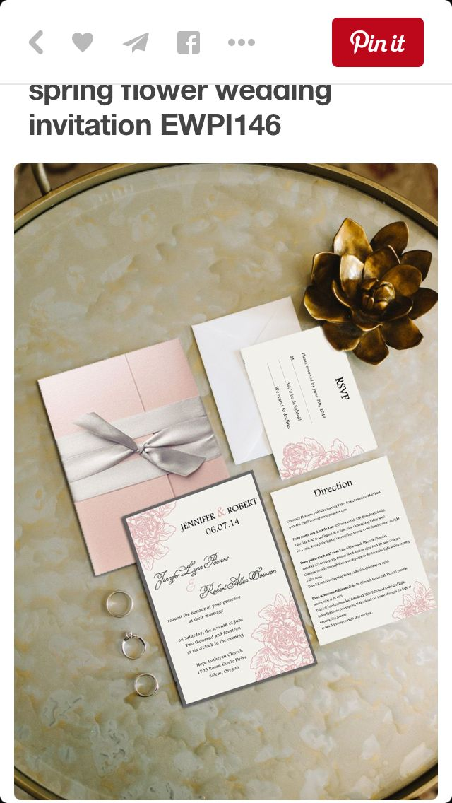 pocket wedding invitation templates%0A Gray and Blush Pink Pocket Wedding Invitations