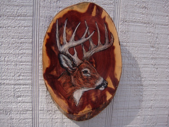 deer buck woodburning on red cedar plaque by ADragonflysFancy, $9.00