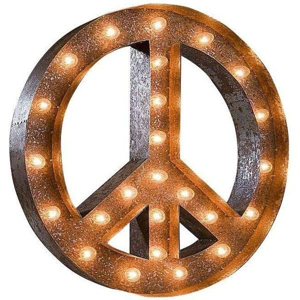 """24"""" Vintage Marquee Peace Sign Light (280 CAD) ❤ liked on Polyvore featuring home, home decor, déco, decorative objects, arrow sign, vintage home decor, text peace sign, vintage home accessories and text signs"""