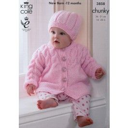 Coat, Sleeveless Coat, Sweater and Hat in King Cole Chunky (3858) £2.99