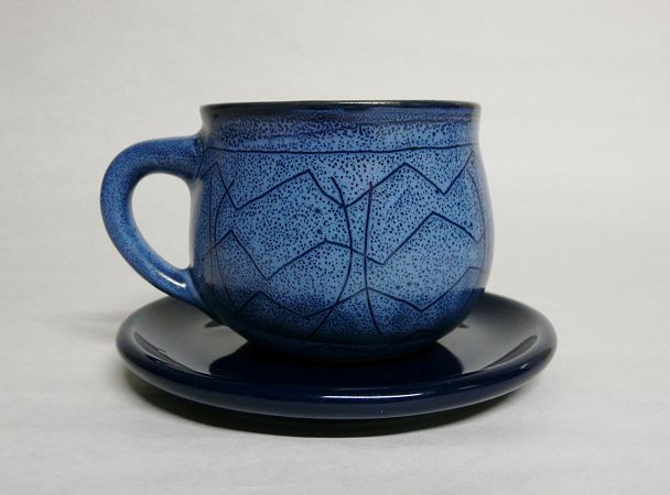 Southwestern Stoneware Teacup with Saucer - Screen Tea, Inc.