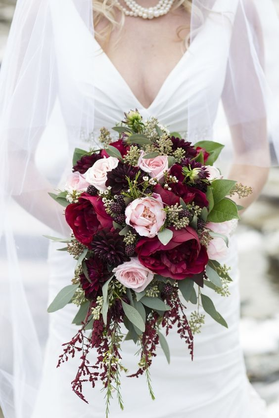 Cascading Dark Red Fall Wedding Bouquet / http://www.deerpearlflowers.com/cascading-wedding-bouquets/