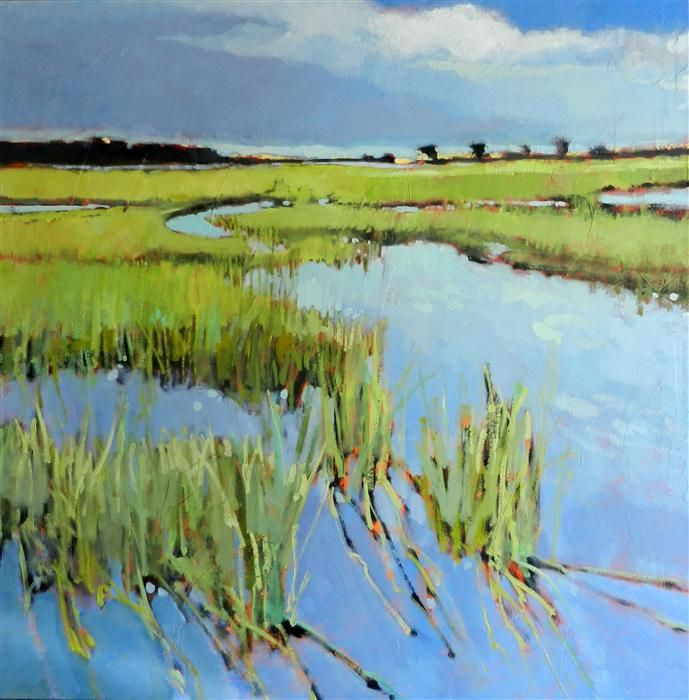 """Original art for sale at UGallery.com   Winding Marsh by Mary Pratt   $3,500   oil painting   48"""" h x 48"""" w   http://www.ugallery.com/oil-painting-winding-marsh"""