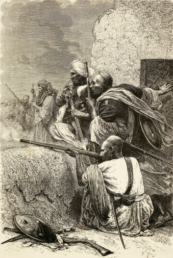 Afghan guerrillas, engraving. Second Anglo-Afghan War, 19th century