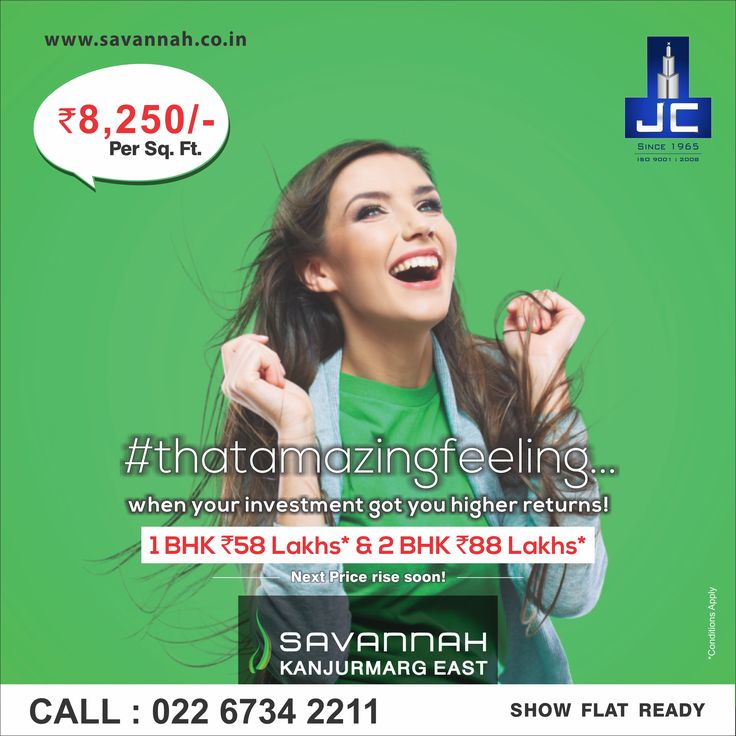 ‪#‎thatamazingfeeling when your investment got you higher returns! Savannah by Jaycee Homes offers 1BHK @ 58Lakhs* & 2BHK @88Lakhs*. For more details: www.savannah.co.in