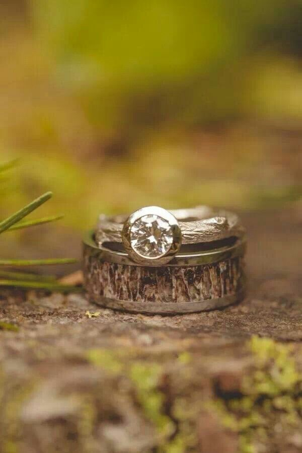 Beautiful rustic wedding ring! Camo ring baby! @Tisha G Green