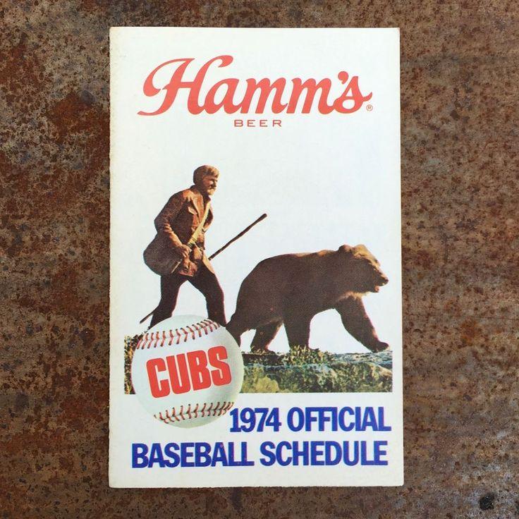 CUBS 1974 Official WGN 9 Pocket TV Schedule Sponsor Hamm's Beer Chicago Vintage…