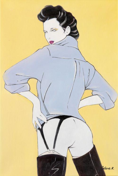 swanngalleries: Сабин Кассик Патрик Нагель имитация.  Копия одного из Playboy иллюстраций Нагеля.  около 2010