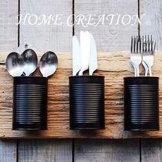 Idée relooking cuisine  Porte-couverts ou porte-ustensiles mural en bois flotté composé de 3 compartim