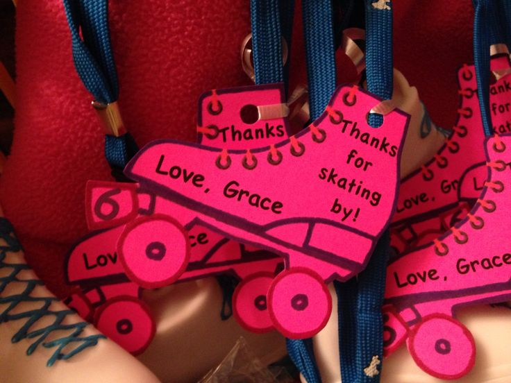Roller skating party favor tag.