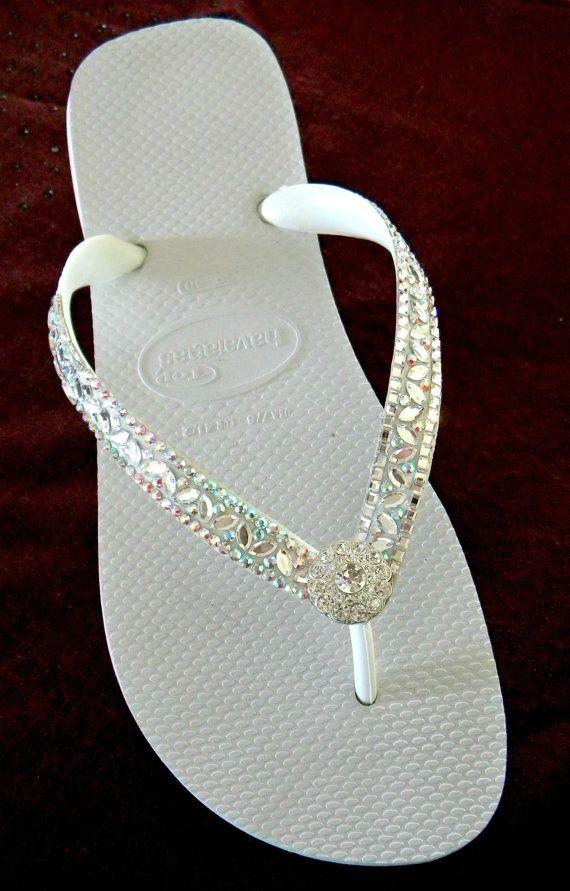 17af17d27 White Wedding Flip Flops Glass Slippers Blushing Bride w  Swarovski Crystal  Rhinestone Bead Beach Bling