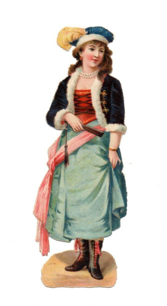 Alte Oblaten Glanzbilder Scraps Dame mit Fächer 12,5cm ...