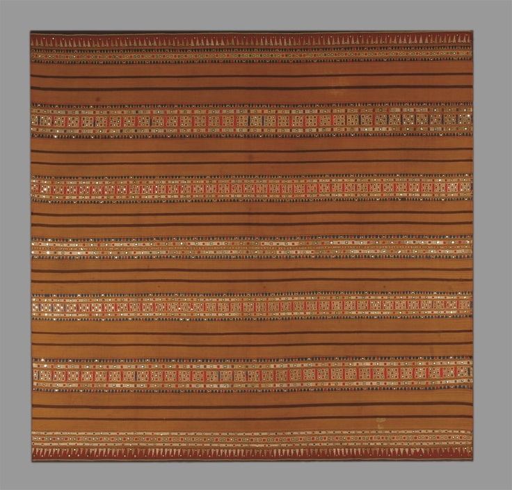Tapis, Indonesia, 19th c. Woven ikat with embroidered stripes on silk. Mica sequins.