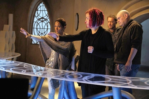 "Halle Berry, left, director Lana Wachowski, Tom Hanks and director Andy Wachowski on the set of ""Cloud Atlas."""